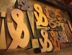 Some of our antique wood type. Hamilton type and variations.