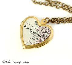 San Francisco Map Necklace, Vintage Brass Heart Locket, Antique Map Jewelry, Map Locket - ready to ship