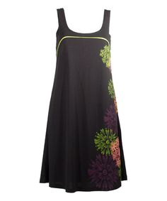 This Black & Green Floral Shift Dress - Plus Too by Coline USA is perfect! #zulilyfinds