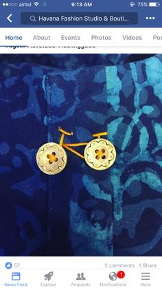 Use this detail on bicycle fabric (top). Use this detail on bicycle fabric (top). Embroidery On Kurtis, Embroidery On Clothes, Hand Work Embroidery, Hand Embroidery Stitches, Hand Embroidery Designs, Beaded Embroidery, Embroidery Patterns, Sewing Patterns, Button Art