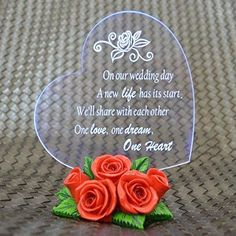 Gift Garden Cake Toppers LED Light and Red Rose Statues Wedding Decor Figurine