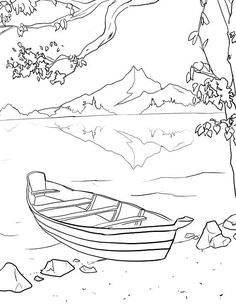 Painting Prompts for Beginners 21 Digital Sketches Landscape Drawing Easy, Landscape Pencil Drawings, Landscape Sketch, Easy Pencil Drawings, Colouring Pages, Coloring Books, Hipster Drawings, Couple Drawings, Drawing Sketches