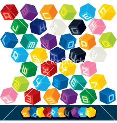 3D Cubics Font on VectorStock