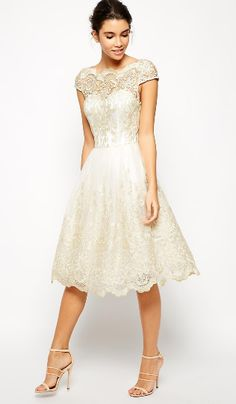 Short Wedding Dresses : Asos Chi Chi London Premium Metallic Lace Midi Prom Dress with Bardot Neck Lace Dress, Dress Up, White Dress, White Lace, Cream White, Asos Dress, Gold Dress, Pretty Dresses, Beautiful Dresses