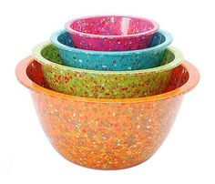 Recycled Confetti Mixing Bowls- Have these! Love them!