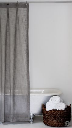 Grey Fabric Shower Curtain