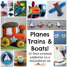 "Time to get your crochet hooks moving – creating these gorgeous free crochet patterns of trains, planes, and boats! 10 Free Crochet Train, Airplane, and Boat Patterns Click on the names of the patterns you like to go to their pattern pages! Little Toy Train Engine by Shanon Fouquet, on Shanonigans: Click on the words ""little toy train"" to [...]"