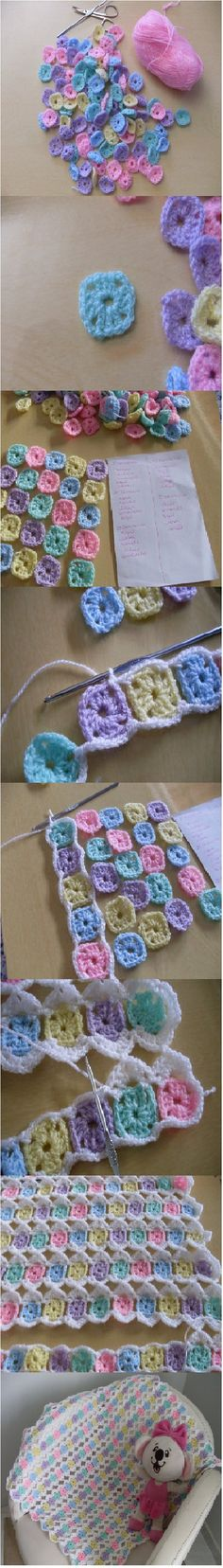 the cutest way ever to end you left-over yarn : the One-Round Granny crochet blanket! ****Looks like inside of granny square...then sc in corner, ch 3, sc corner to join in strips....then the granny square corner..3 dc, ch 1, 3dc...and used the ch 1 to join strips together? Not sure though....going to have to figure this one out...since it's picture only and no instructions :(