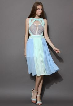 $54.00 New Romance Color Block Cutout Lace Chiffon Dress