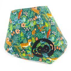 Bandana baby bib, illustrated with a pretty monkey on a green jungle fabric, waffle cotton fabric lining, gift for baby, size months Bandana Bib, Couture, Baby Bibs, Fabric Patterns, Cotton Fabric, Textiles, Etsy, Handmade, Gifts