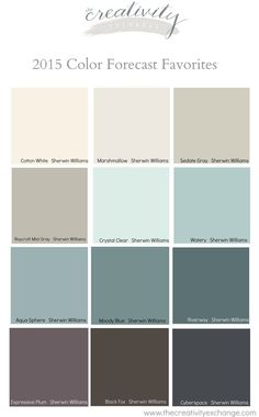 Favorites from the 2015 Paint Color Forecasts Favorite colors from the 2015 paint color forecasts. The creativity stock market Favorites from the 2015 Paint Color Forecasts Favorite colors from the 2015 paint color forecasts. Paint Schemes, Colour Schemes, Color Trends, Wall Colors, House Colors, Paint Colours, Soothing Paint Colors, Coastal Paint Colors, Neutral Paint