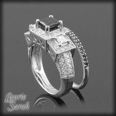 Princess Cut Black Diamond Engagement Ring with White Diamonds and Black Diamond Wedding Band - LS2134 by LaurieSarahDesigns on Etsy https://www.etsy.com/listing/104078131/princess-cut-black-diamond-engagement