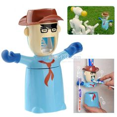 Cartoon Merit Student Style Eco-friendly Automatic Toothpaste Dispenser with Toothbrush Holders & Tooth-brushing Cup