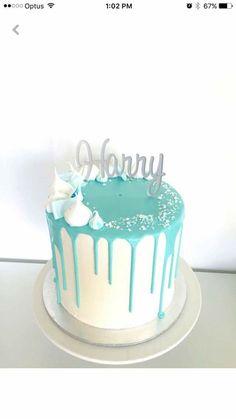 White Chocolate & Caramel Swirl Mud Cake with White Choc Ganache & Vanilla Swiss Meringue Buttercream Baby Boy Cakes, Cakes For Boys, Blue Drip Cake, Choc Ganache, Christening Cake Boy, Idee Baby Shower, Bolo Cake, Gateaux Cake, Mud Cake