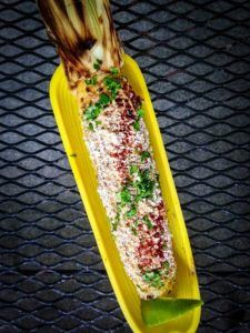 Chipotle Elote Recipe The Setup  1 cup mayo  1 tbsp 5 Rabbit 5 Lizard (or other witbier)  2 teaspoons lime juice 2 dried chipotles  2 cup grated cojita cheese  1 bunch cilantro, finely chopped Ground chipotle, to garnish Lime wedges, to garnish  15-20 ears of corn, husk pulled back and silk removed