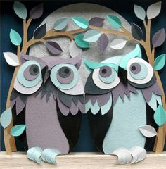Paper-cut owls by Helen Musselwhite Pinned by www.myowlbarn.com