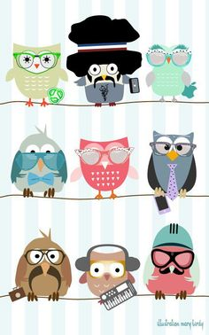 Owls- with jobs!!  Inspiration peds office room.