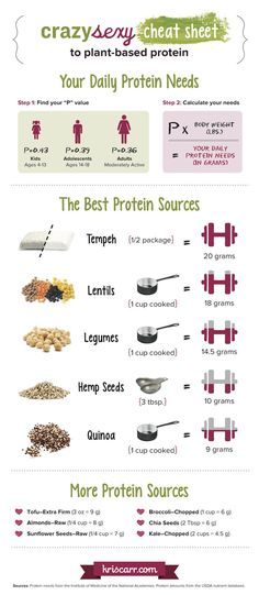 Crazy Sexy Cheat Sheet To Plant Based Protein Infographic