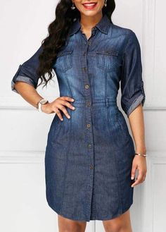Mode Turndown Collar Roll Tab Sleeve Denim Dress Candles which reflect the season can also be a grea Curvy Women Fashion, 80s Fashion, Denim Fashion, Trendy Fashion, Fashion Outfits, Dress Fashion, Style Fashion, Fashion Styles, Fashion Online