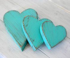 Wood Hearts Decorative Country Shabby Chic Cottage Decor AQUA