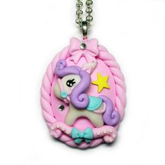 OOAK Kawaii Cuties Sweet Little Mini Pony Cameo Pendant Necklace with Polymer Clay Pink