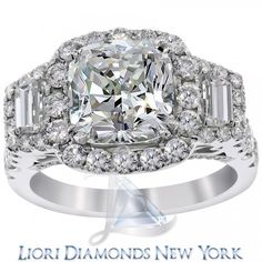 5.38 Carat H-VS2 Cushion Cut Natural Diamond Engagement Ring 14K Vintage Style - Vintage Style Engagement Rings - Engagement - Lioridiamonds.com
