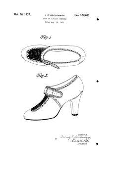1937 DESIGN FOR A SHOE   Irving E. Grossmann