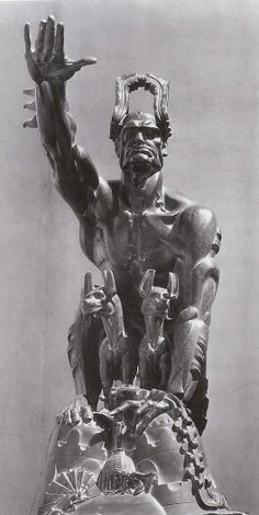 """Remussolini"" Stanisław Szukalski 1932 Mussolini depicted as an allegory of Capitoline Wolf."
