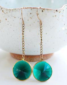 Vintage Teal earrings   Vintage Teal jewelry  Dark by FlirtyFig
