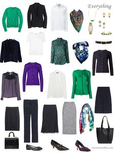 a 4 by 4 Wardrobe in navy, with accents of white, emerald and amethyst