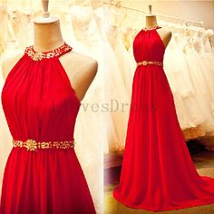 Halter A-line backless chiffon long beaded sleeveless prom dress, ball gown ,evening graduation bridesmaid dress,E-2350 - this in a different colour!!