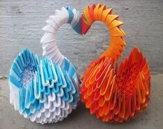3D Origami Patterns | Swan Love - 3D origami by SophieEkard