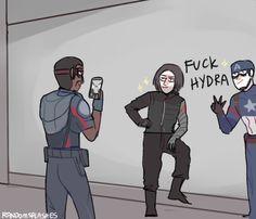 What Steve, Sam, and Bucky do when they infiltrate a Hydra base Avengers Fan Art, Marvel Fan Art, Marvel Avengers, Marvel Jokes, Marvel Funny, Marvel Dc Comics, Marvel Drawings, Dc Memes, Film Serie