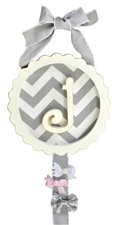 "Zig Zag in Gray Monogram Barrette Holder - These Monogram Barrette Holders are perfect for organizing barrettes and hair clips! They can be personalized with your child's first initial & include an antique white frame with 24"" inches of ribbon attached for hanging."