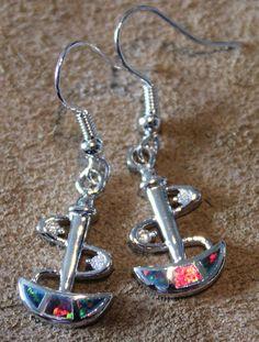 fire opal earrings Gemstone silver jewelry abstract modern design A93E