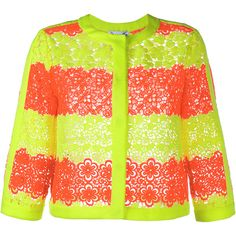 Moschino Floral Neon Lace Jacket ($1,020) ❤ liked on Polyvore featuring outerwear, jackets, tops, floral print jacket, flower print jacket, neon orange jacket, 3/4 sleeve jacket and neon jacket