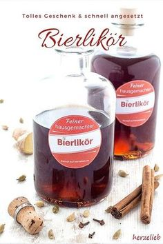 Bierlikör – so lecker und süffig, der ist auch was für einen Mädelsabend! Beer liqueur or beer brandy is a great gift idea from the kitchen and not only for men! When I tried the recipe and the liqueur just in Party Drinks, Cocktail Drinks, Cocktail Recipes, Liqueur, Schnapps, Beer Recipes, Non Alcoholic Drinks, Refreshing Drinks, Dessert