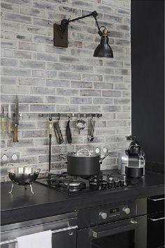 soapstone counter with painted brick backsplash Home Interior, Kitchen Interior, New Kitchen, Kitchen Design, Kitchen Grey, Gray Interior, Interior Design, Contemporary Interior, Interior Decorating