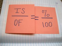 """Lots of Math INB ideas! Percents and Proportions Foldable (Outside) I'm teaching this the same way my Algebra 1 teacher taught me: """"Is over of equals percent over one hundred. Math Strategies, Math Resources, Math Activities, Math Games, Math Teacher, Math Classroom, Teaching Math, Teacher Stuff, Teaching Ideas"""