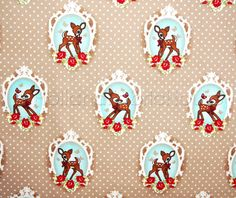 Retro Deer in Tan Fabric  - Extra Wide Dutch design fabric. $6.75, via Etsy.
