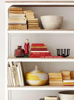 wood on white shelves