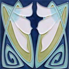 »Wandfliese Jugendstil Narzissenmotiv V2« von Replicata: 15 x 15 x 0,8 cm…