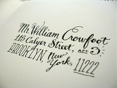 hand lettered address... @Lauren Ward, can I order a stamp of this in my address from you, ma'am?