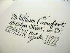 hand lettered address--love