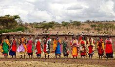 Masaj women in colourful clothes, Kenya