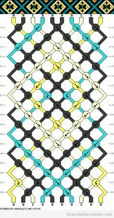 Modèle bracelet brésilien, motif losanges Plein de tutos sur ce site : braceletbresilien.net