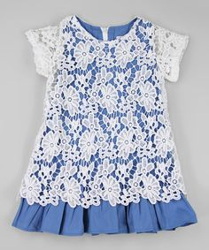 Blossom Couture White & Blue Lace Overlay Dress - Infant, Toddler & Girls | zulily