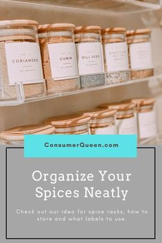 Check out this fun modern idea for spice rack that is trending on social media. Organize your spice rack with cute clean look Spice Bottles, Spice Jars, Storage Organization, Organizing, Cabinet Spice Rack, Grill Sandwich, Spice Labels, Pinterest Popular, I Win