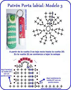 Porta labiales crochet - Crochet lipstick holder - вязание крючком Держатель губной помады