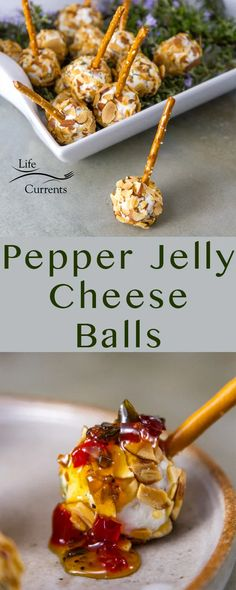 Pepper Jelly Cheese Balls long pin for Pinterest with two images and the title Best Appetizer Recipes, Cheese Ball Recipes, Vegetarian Appetizers, Cheese Appetizers, Appetizers For Party, Snack Recipes, Bite Size Appetizers, Individual Appetizers, Pepper Jelly Recipes